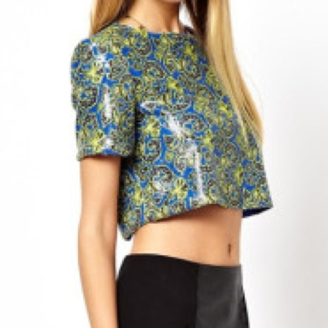 86980fb92f8ab Blue yellow and black sequin crop top