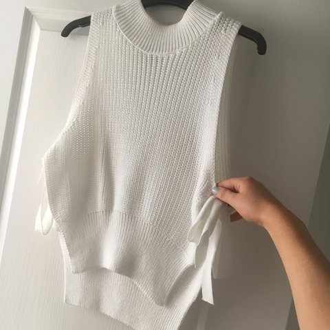 3717ac8177d06 topshop white high neck knotted top jumper crop top with tie - Depop