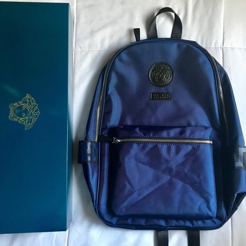 9c89161887 100% authentic Versace Backpack blue color with medusa all - Depop