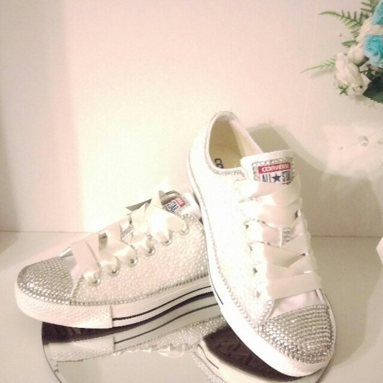 8e50379f6a32 Decorated All Star Converse with Diamante and Pearls Fully - Depop