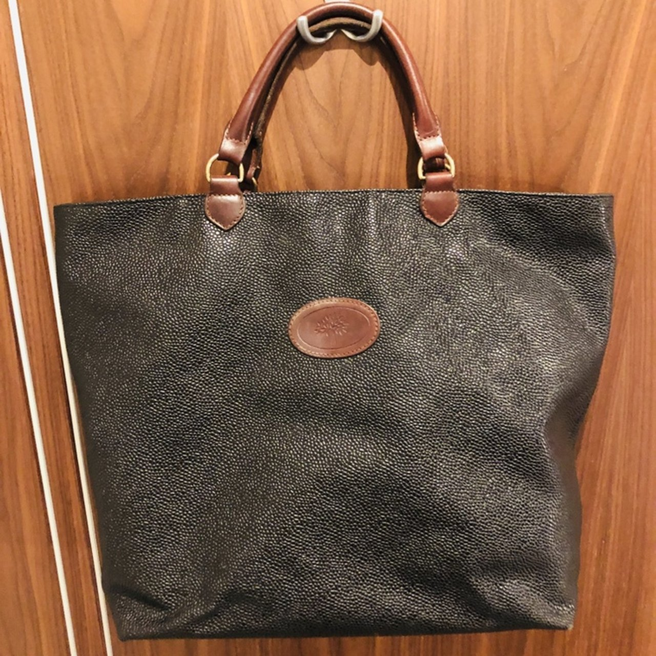 11180b380ccd SALE  Mulberry grain-leather black bag with leather handle. - Depop