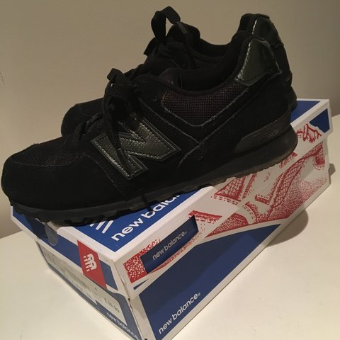 a026aab117017 triple black unisex new balance trainers. worn once for an a - Depop