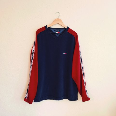b0e604050cf9c3 @norwoodclothing. 3 years ago. Northamptonshire, UK. Men's vintage XXL navy  blue and red colour block Tommy Hilfiger Jeans thick heavy knitted pullover  ...