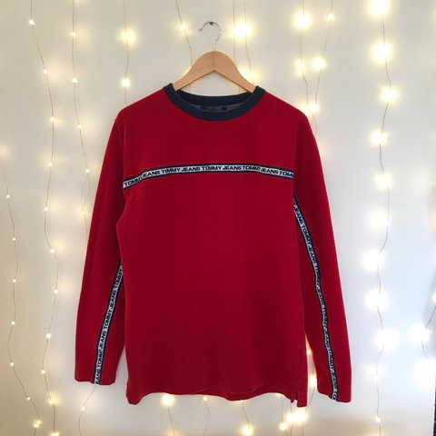 0cbeb844 @norwoodclothing. 2 years ago. Northamptonshire, UK. Men's medium Tommy  Hilfiger Jeans top | ringer crew neck long sleeve pullover tee t-shirt | red,  white ...