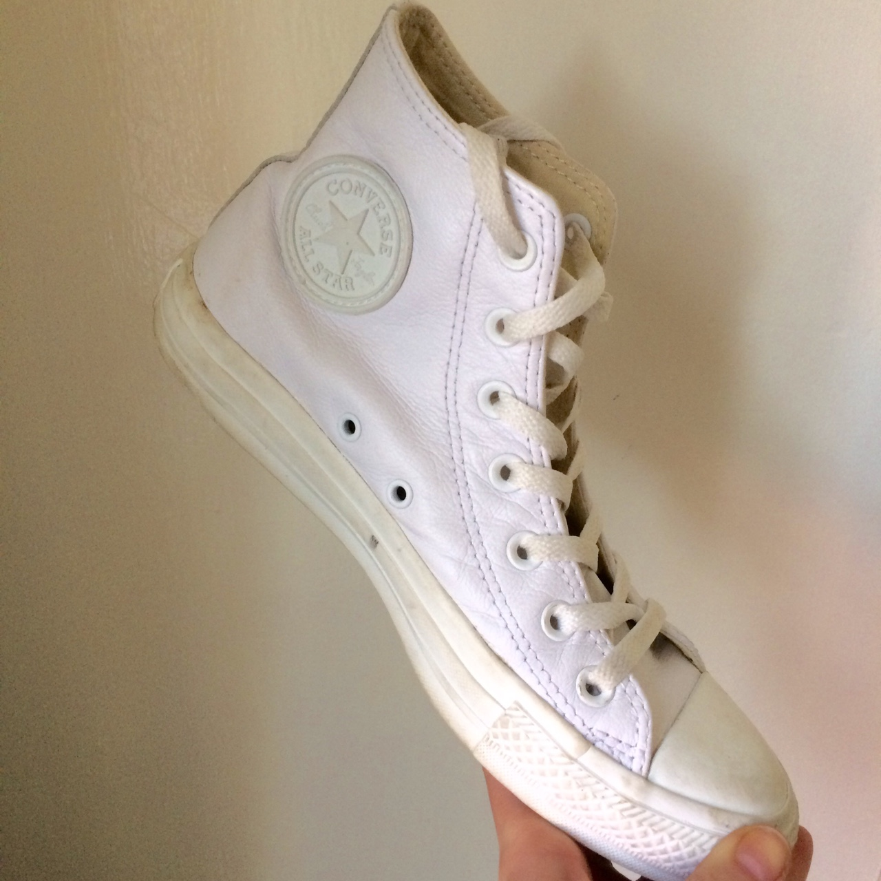 Converse Chuck Taylor white leather hi tops. Worn Depop