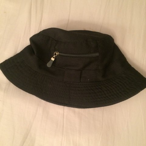 70f6332a Black bucket hat • medium sized M • zip on the side • for • - Depop