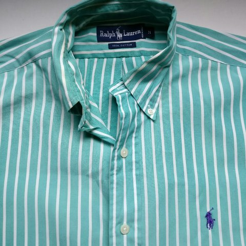 73152ab7 @sovereignstore. 3 years ago. Cambridge, UK. Ralph Lauren green and white striped  shirt • excellent conditon • tags state size medium ...