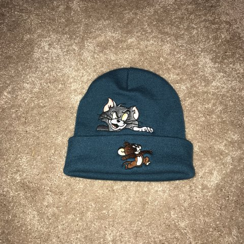 50afb955cff Supreme tom and jerry beanie in teal brand new never worn to - Depop