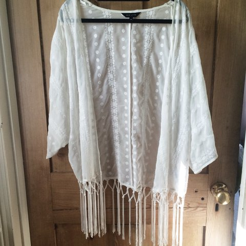 8d06e127e0e28 summer white/cream kimono. tassels and bohemian festival new - Depop