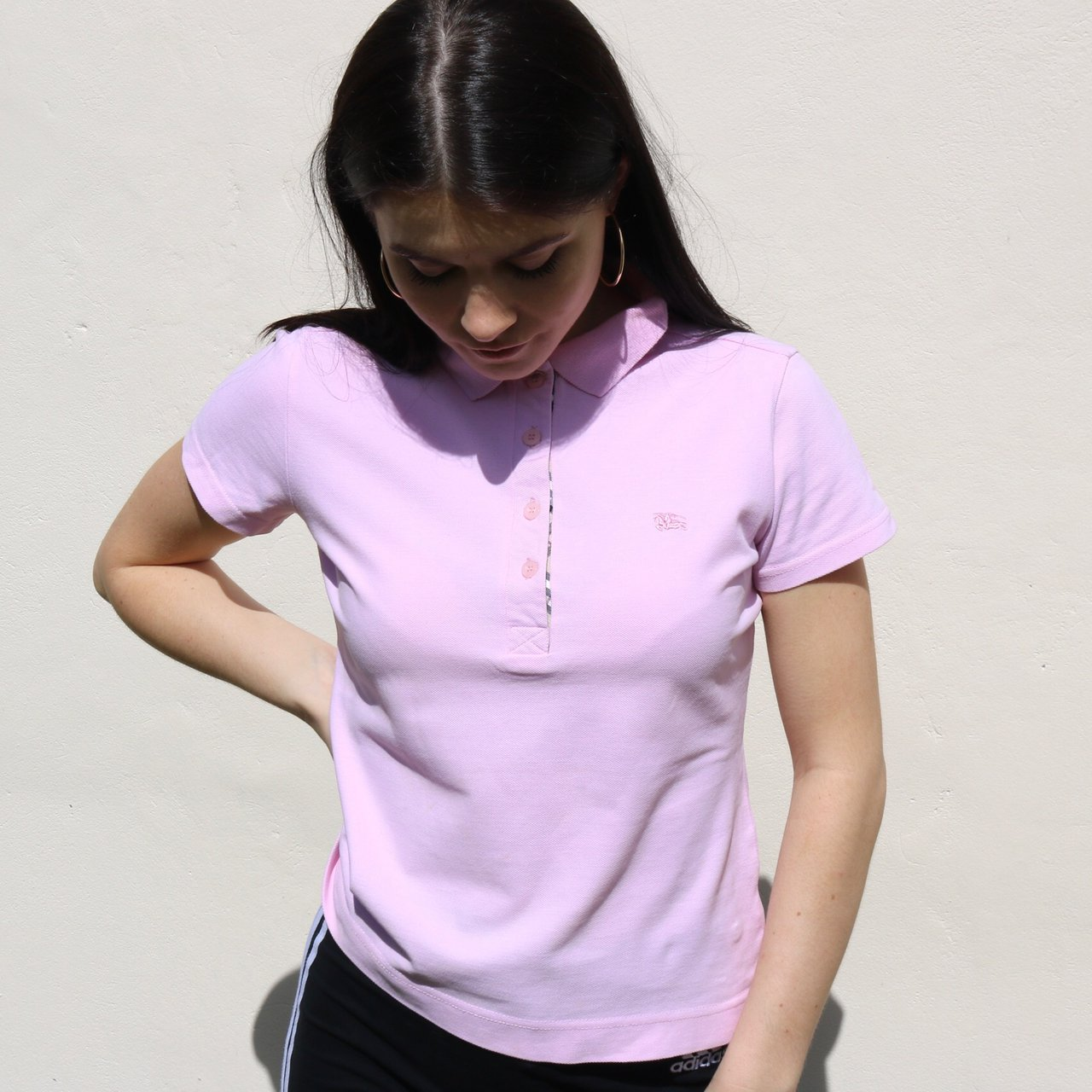 Women s baby pink Burberry polo shirt in good vintage Model - Depop 48adf97223