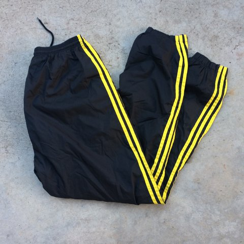 Caution Tape Yellow And Black Adidas Track Pants With Black Depop