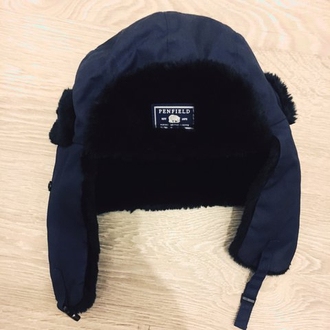 75ab7dac6d109 Penfield Classic Trapper hat in Navy blue and black. Worn - Depop