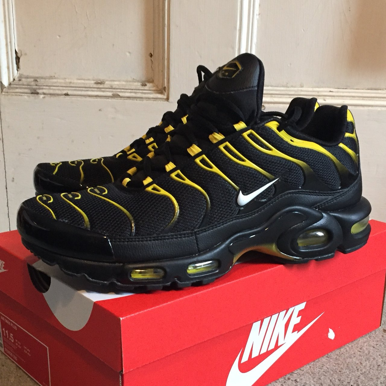 6805a2587c3 Brand new Nike Air max plus tn black and yellow uk 10.5. fit - Depop