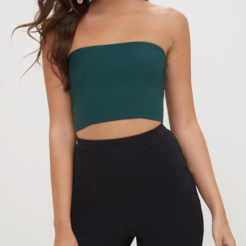 ca54740506 Pretty little thing green emerald bandeau crop top