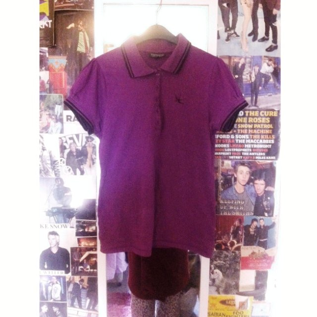 Purple Polo Shirt With Bird Logo From Topshop Size 10 Worn Depop