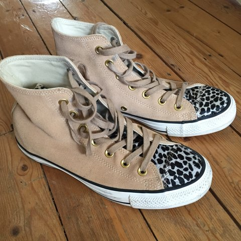 7d2658a69237 Converse leopard print suede trainers in size uk 6 - Depop