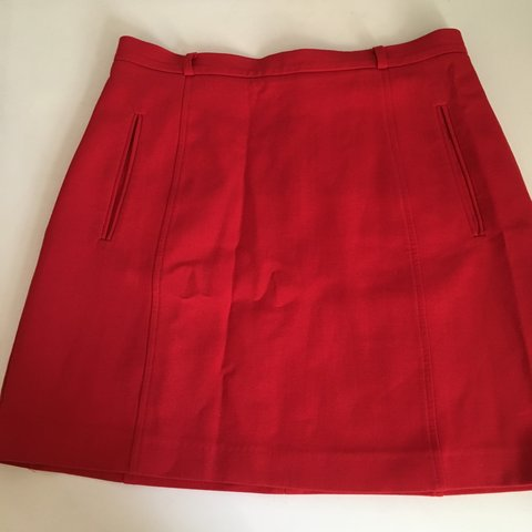 f414b53d67 Topshop smart red a-line mini skirt with belt loops and Size - Depop