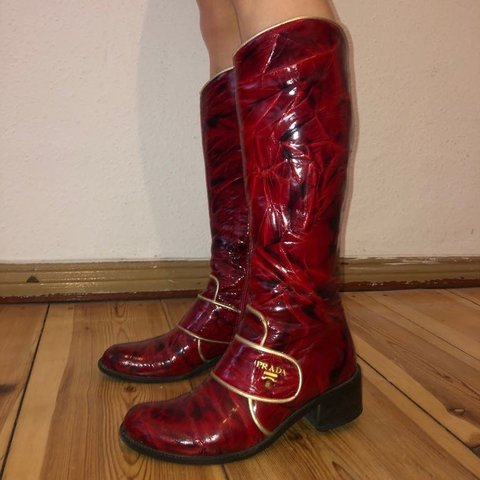 592716d163d Red Patent Prada cowboy boots These red prada boots are in - Depop
