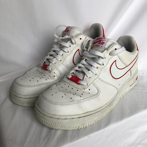 The sickest red and white Nike Air Force 1. Well Depop
