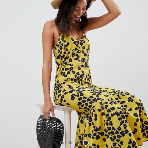 54a74e6203c5 @trina0789. 9 months ago. Wareham, United Kingdom. ASOS Design Tall Leopard  Print Pephem Midi Slip Dress