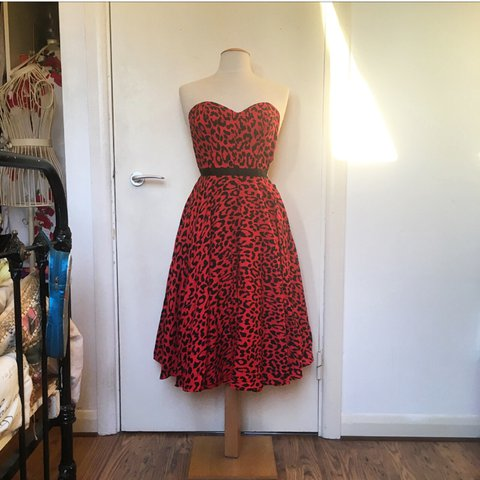 79605837e8c Style Icons closet handmade dress. Red 50s style swing dress - Depop