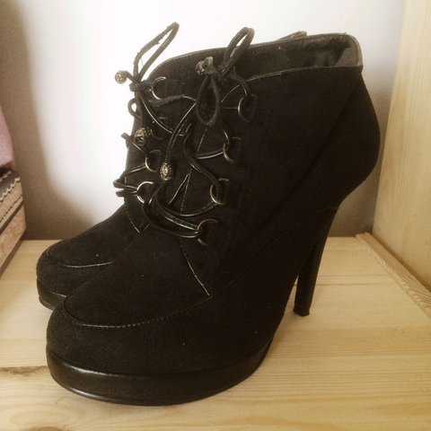 208351a0aa4 Black suede platform lace up boots size 5. By Koi Couture. a - Depop