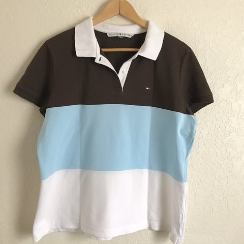 e417788fddfaf Tommy Hilfiger color block polo shirt in brown pale blue   a - Depop