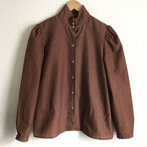 704111e6 Beautiful vintage 80s polyester blouse with high neck, looks - Depop
