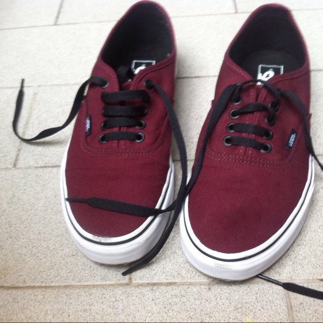 vans bordeaux indossate