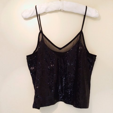 5713d3aa5ff46f H&M Black Sequined Vest Top. Size 12! Brand new tag still a - Depop