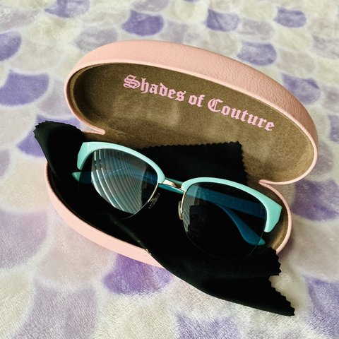 5cb38bf5d8634 🕶🐬 Turquoise Juicy Couture Sunglasses 🐬🕶 - Retro vibes! - Depop