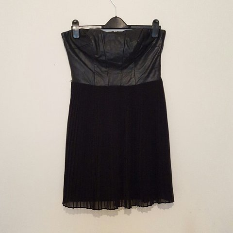 a14fe01ce8 Faux leather & pleated skirt bustier dress. From Oasis, Size - Depop