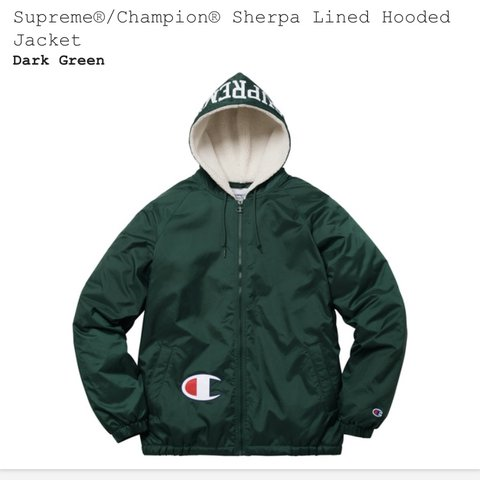 2ac7cd8a6 @gaslightjonny. last year. Pangbourne, United Kingdom. Supreme / Champion  Sherpa lined hooded jacket. Dark green.