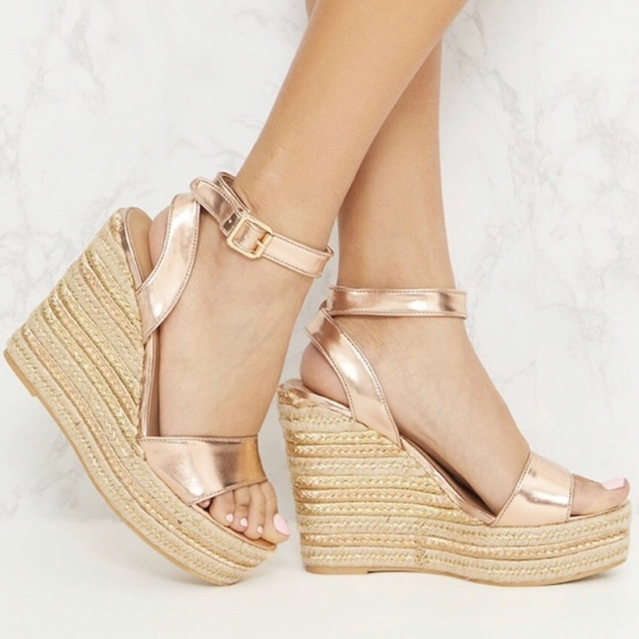 uk availability online for sale popular stores Rose gold wedges from pretty little thing Worn once size 5 - Depop