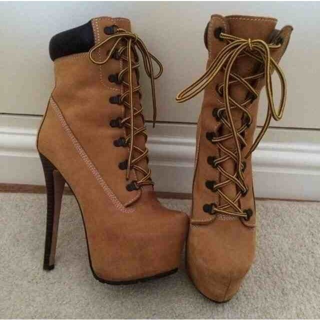 d7fc7028bfd TIMBERLAND heeled boots. Size 5. Worn once - in perfect Real - Depop