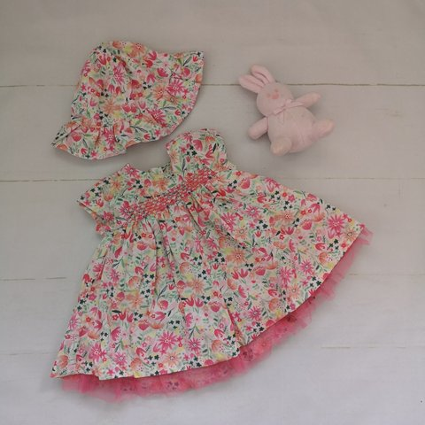 6cad9b1b71758 @amrobinson. yesterday. Widnes, Halton, United Kingdom. Baby girl dress and hat  up to one month. Pink floral ...