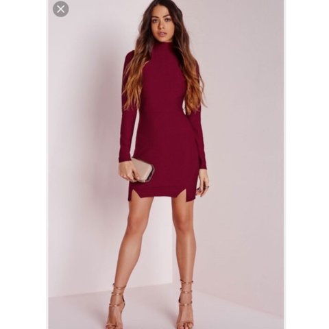 9a36399f8b Missguided Crepe High Neck Long Sleeve Bodycon Dress in Size - Depop