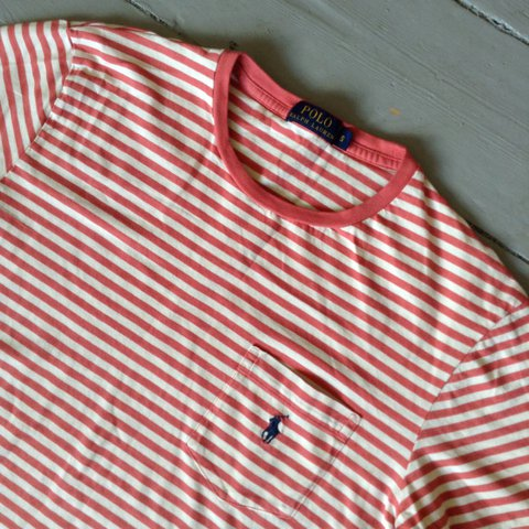 16b8a3f02 @thequarterzipshop. 2 years ago. London, United Kingdom. 💙❤ 💙 POLO RALPH  LAUREN Pink & White Striped T Shirt. Size Small.