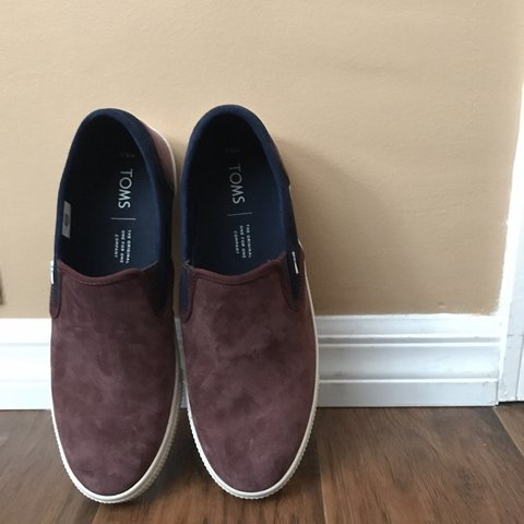9bd2e1d1cb TOMS slip ons. Burgundy suede with navy. Size 8.5 like new - Depop