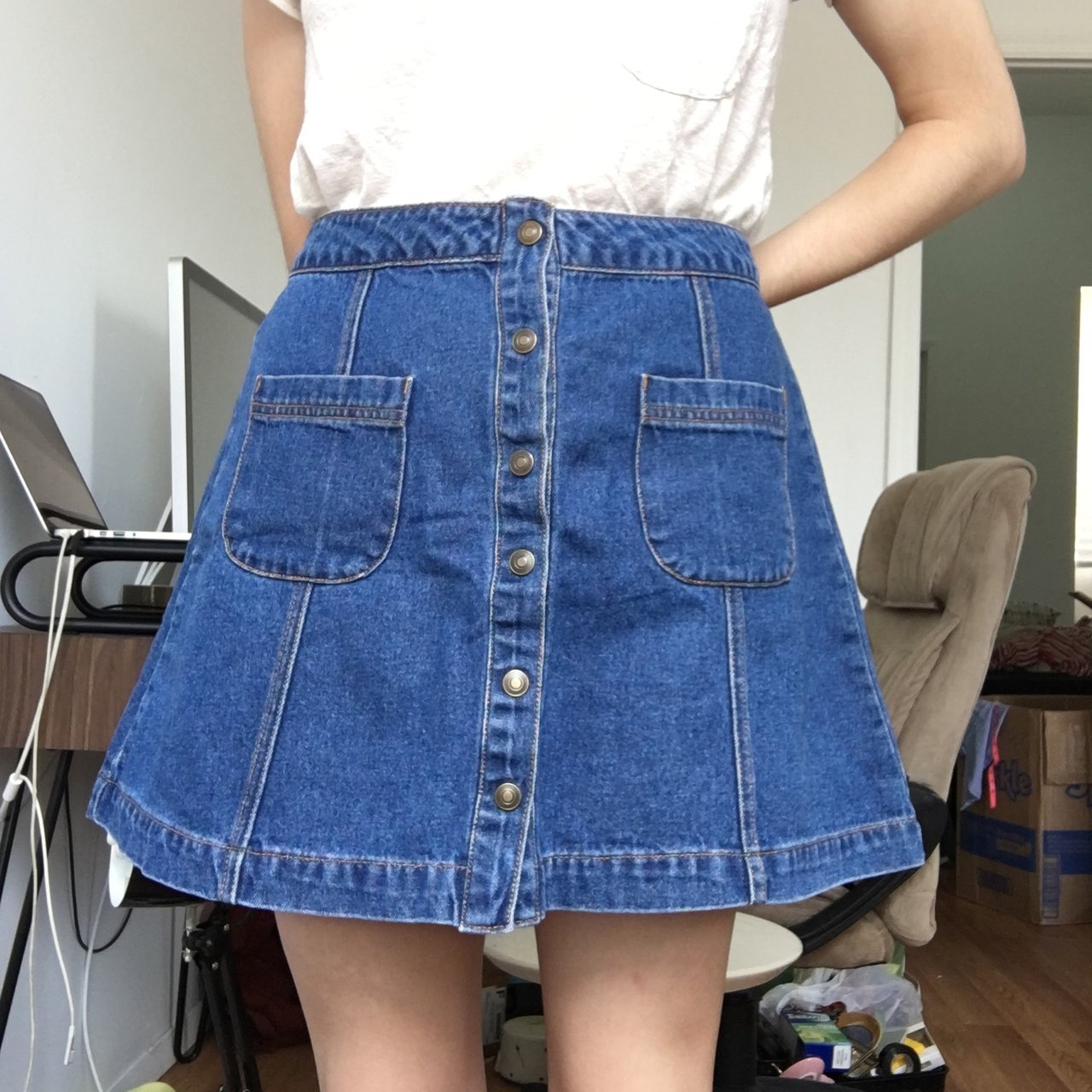 984d65b8a9 Button Front Denim Skirt Forever 21