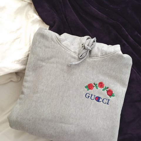 ava nirui gucci x champion sweater size medium in mens but depop