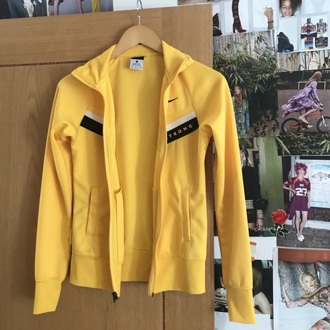 Yellow vintage nike jacket with black and white detail Size - Depop 37483c4a1