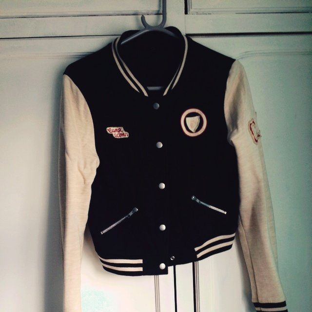 Topshop cropped baseball jacket in cream and black, size 8. Worn ...