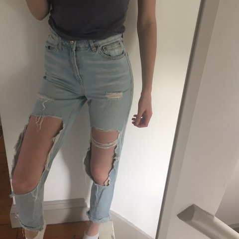 21c2484801a Topshop ripped mom jeans. Big rips on knees. Really nice too - Depop
