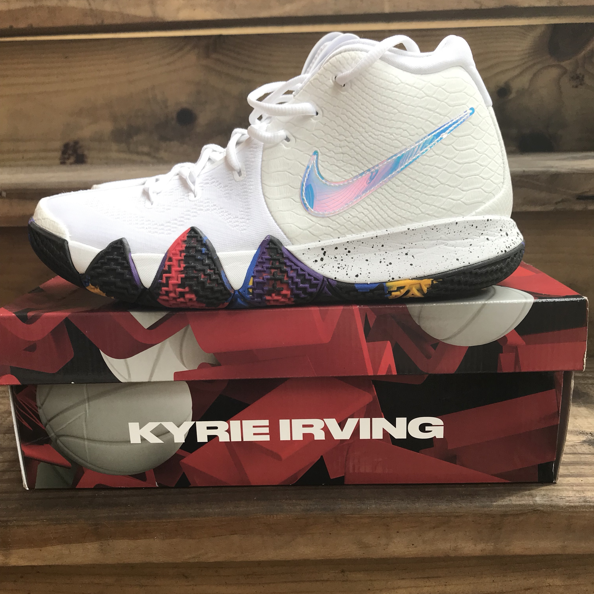 newest fdf4f def1f Nike Kyrie 4 NCAA March Madness White Multicolored ...