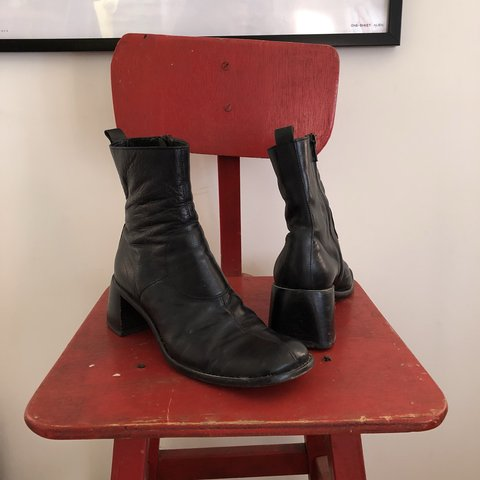b21aa4051288 Costume National vintage black leather ankle boots with toe