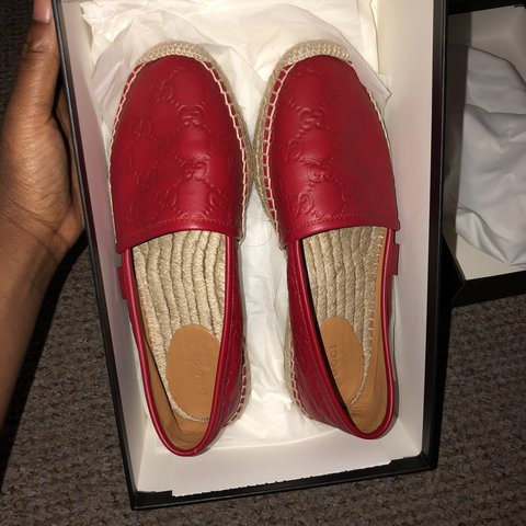 578d460d8a3 REDUCED... Gucci Signature Leather Espadrille Red. Worn in a - Depop