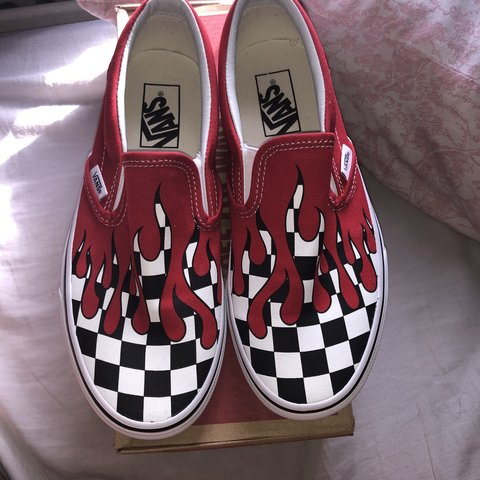 ec709ac6e4 Vans Classic Slip-on checkerboard checker flame racing red. - Depop