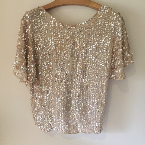 ff187787 Zara M Gold sequin off the shoulder top perfect for xmas - Depop