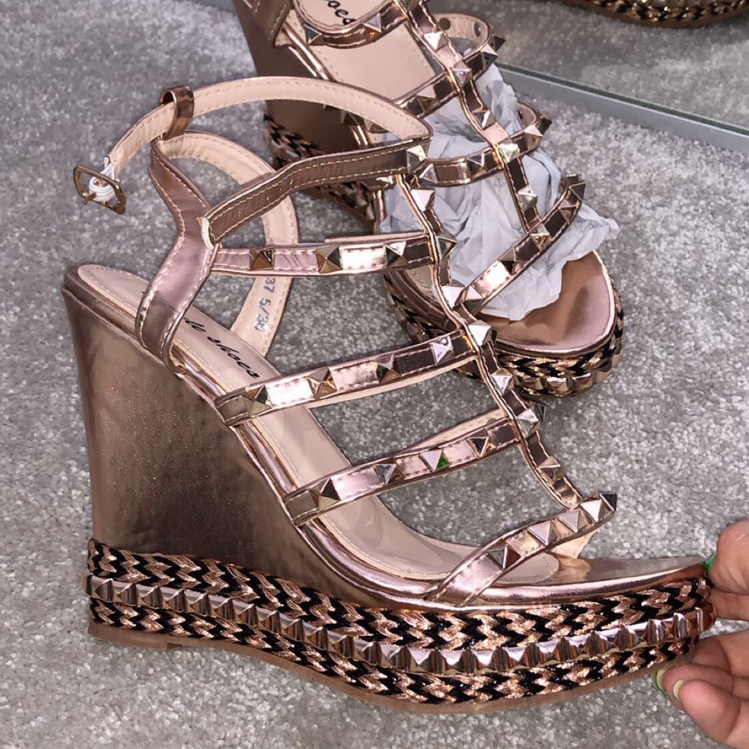 great fit release date lowest price Rose Gold studded wedges size 5 Bought from ikrush... - Depop